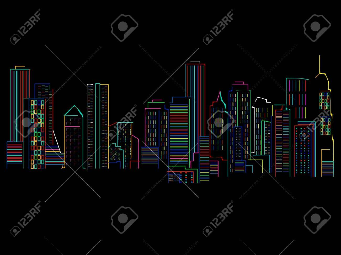 Cityscape background with colored skyscrapers over black background . abstract art illustration Stock Vector - 11787736