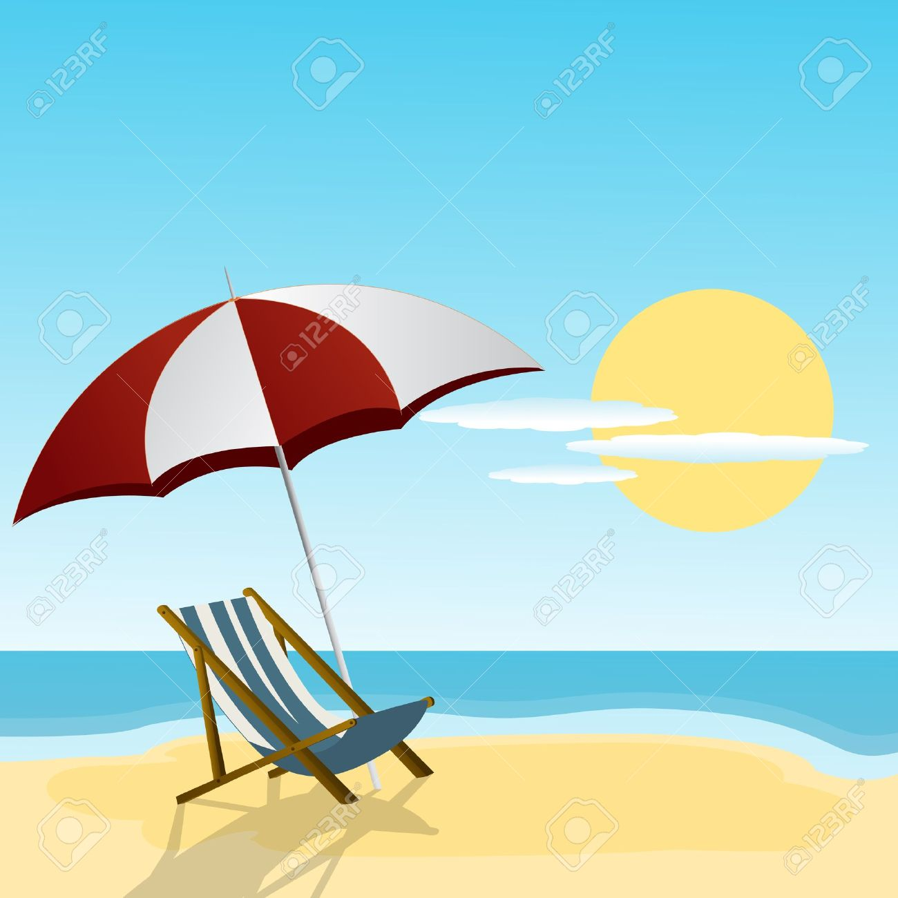 Chaise Lounge And Umbrella On The Beach Side Royalty Free Cliparts ...