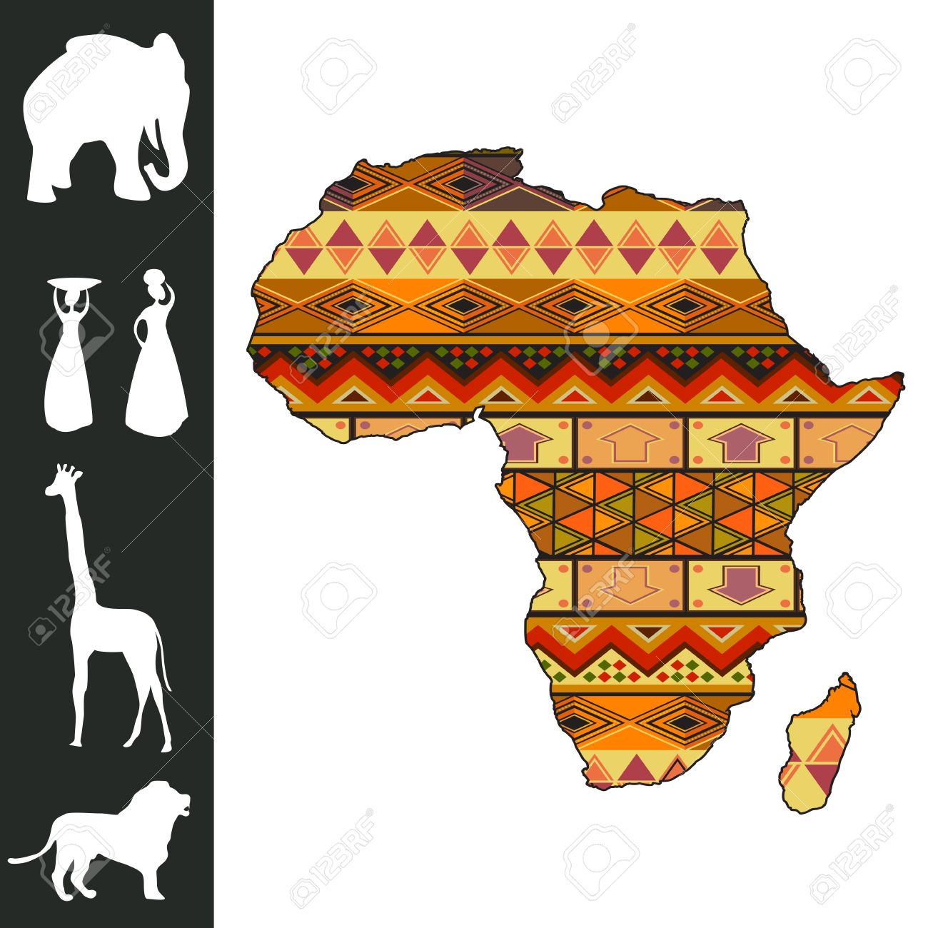 Map of Africa with decorative pattern and silhouette collection Stock Vector - 13025445