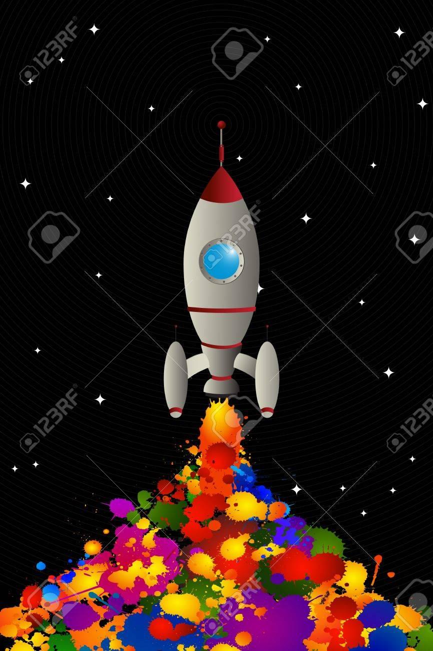 Cartoon rocket spreading color in space, graphic art wallpaper Stock Vector - 13025455