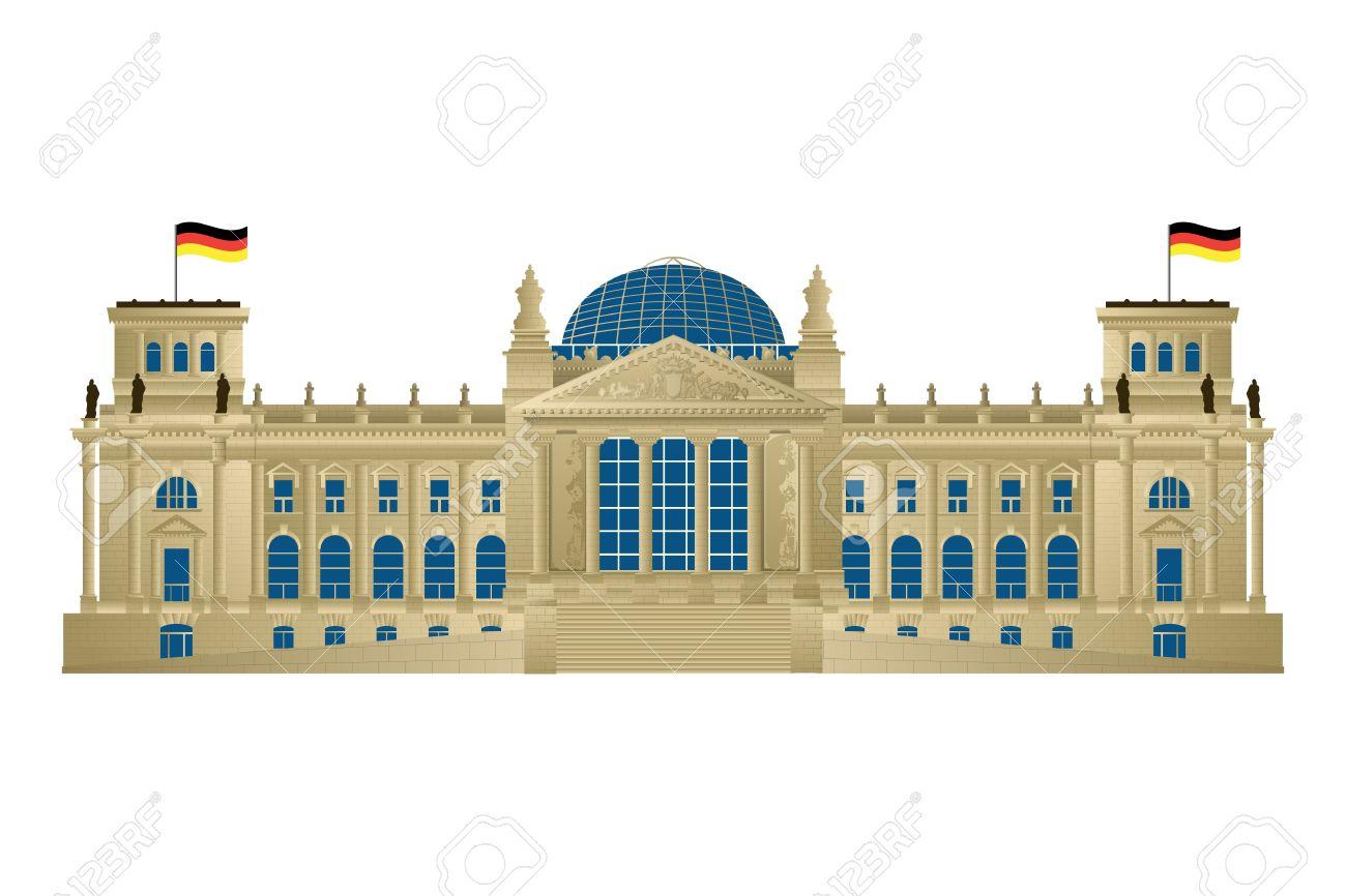 ベルリンの議会、reichstag の詳細なイラスト。白い背景の上の分離と