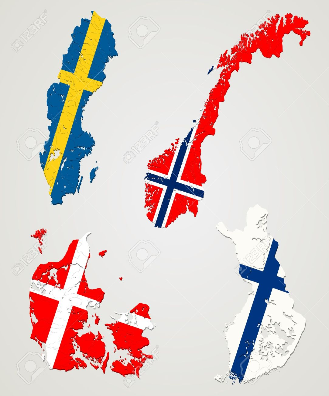 Map And Flags Of Four Major Nordic Countries Norway Sweden - Norway map vector countries