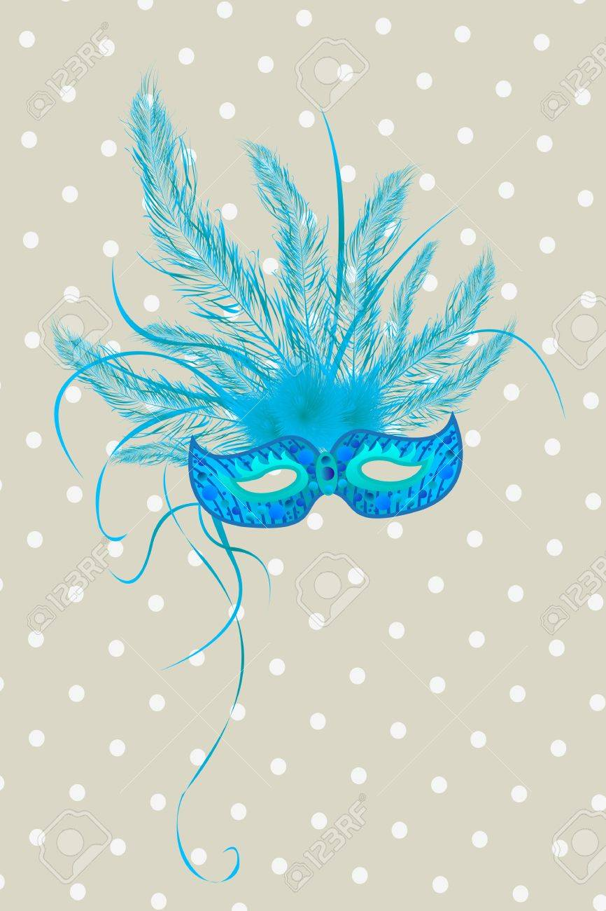 Blue mardigras mask deorated with feathers Stock Vector - 15512741