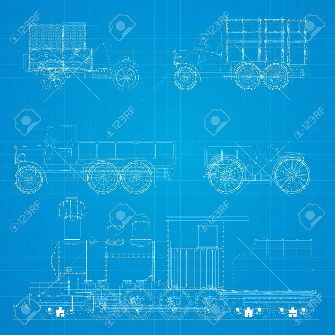 Old transportation vehicles and steam locomotive blueprint design Stock  Vector   15512739. Old Transportation Vehicles And Steam Locomotive Blueprint Design