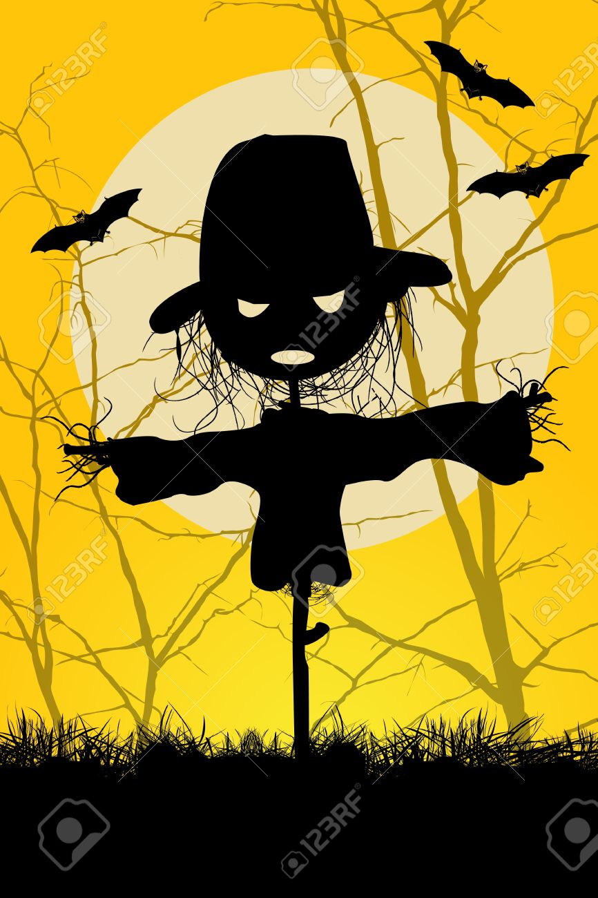 halloween scarecrow ilustrated spooky halloween scarecrow and bats background - Halloween Scare Crow