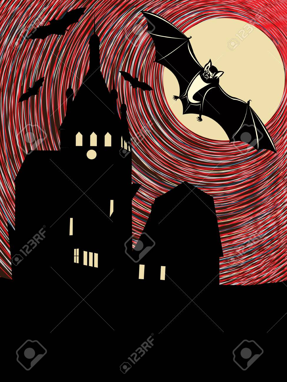 Halloween night with bats in the moonlight  Conceptual illustration Stock Vector - 16188098