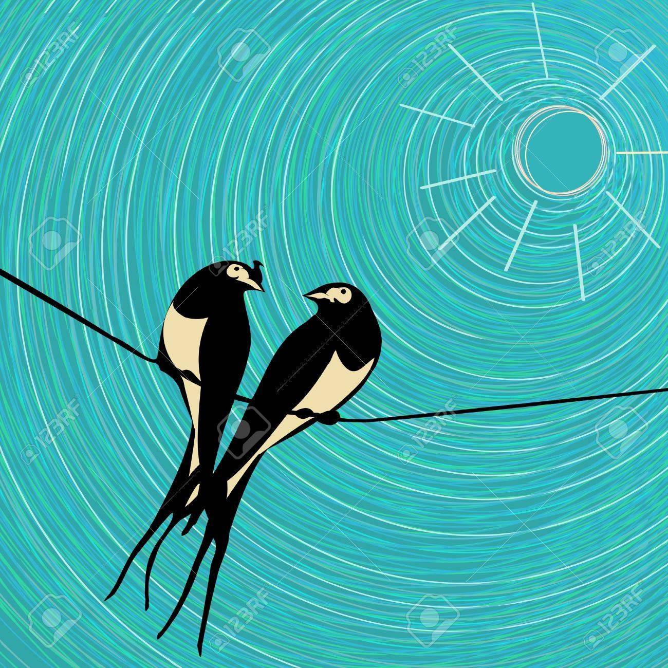 Swallows love card, graphic art Stock Vector - 16188095