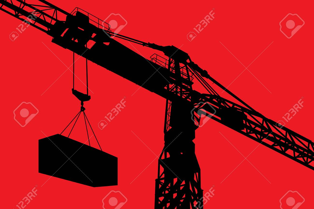 Detailed silhouette of a crane working over red background Stock Vector - 16530234