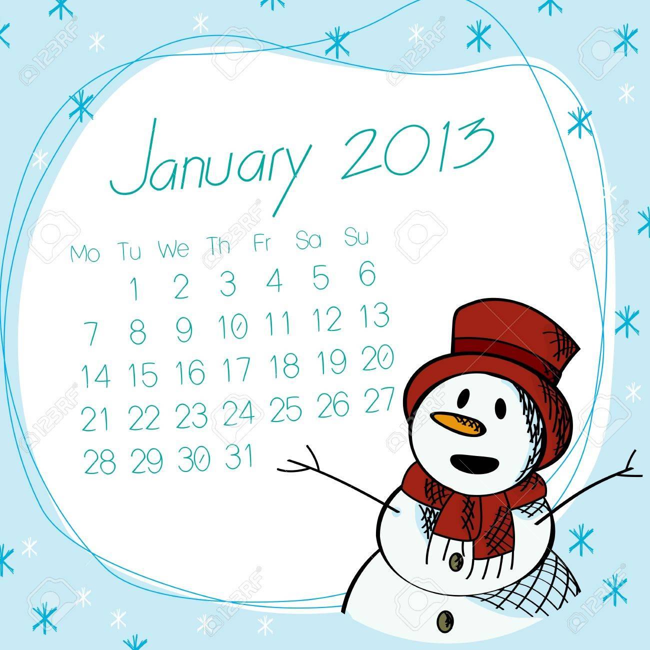 January 2013 calendar with saluting snow man. Stock Vector - 16796458