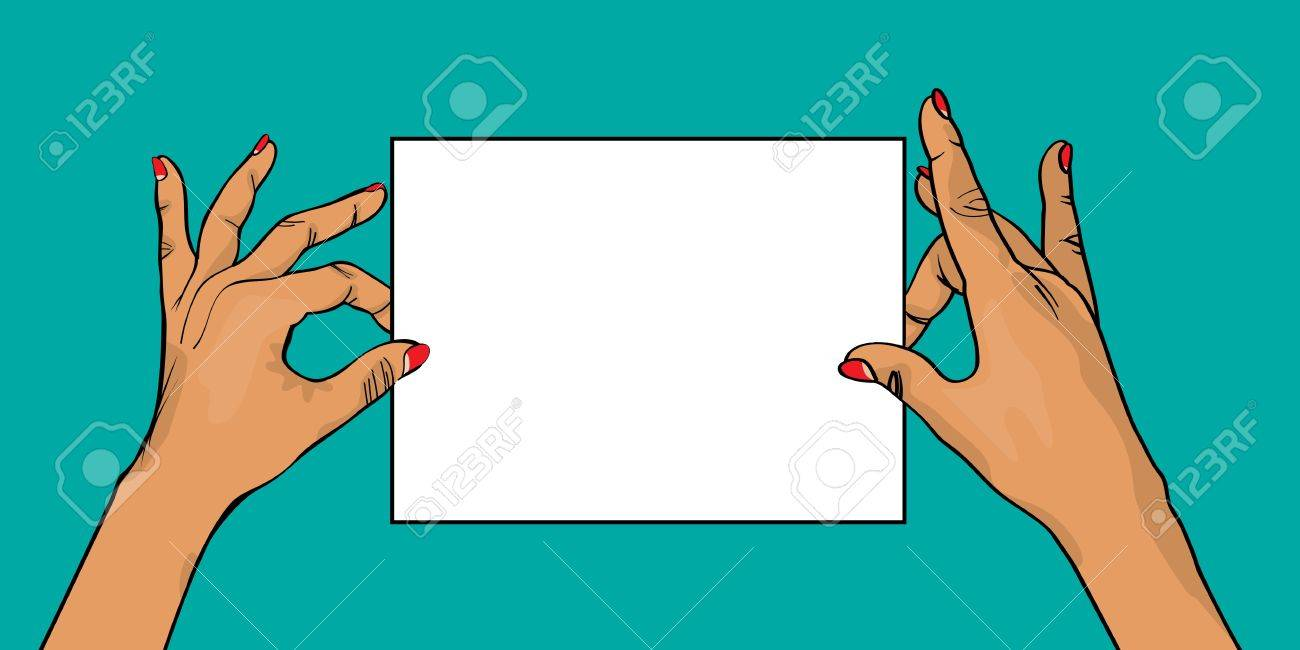 Two hands holding a white card, comic style drawing Stock Vector - 17086903