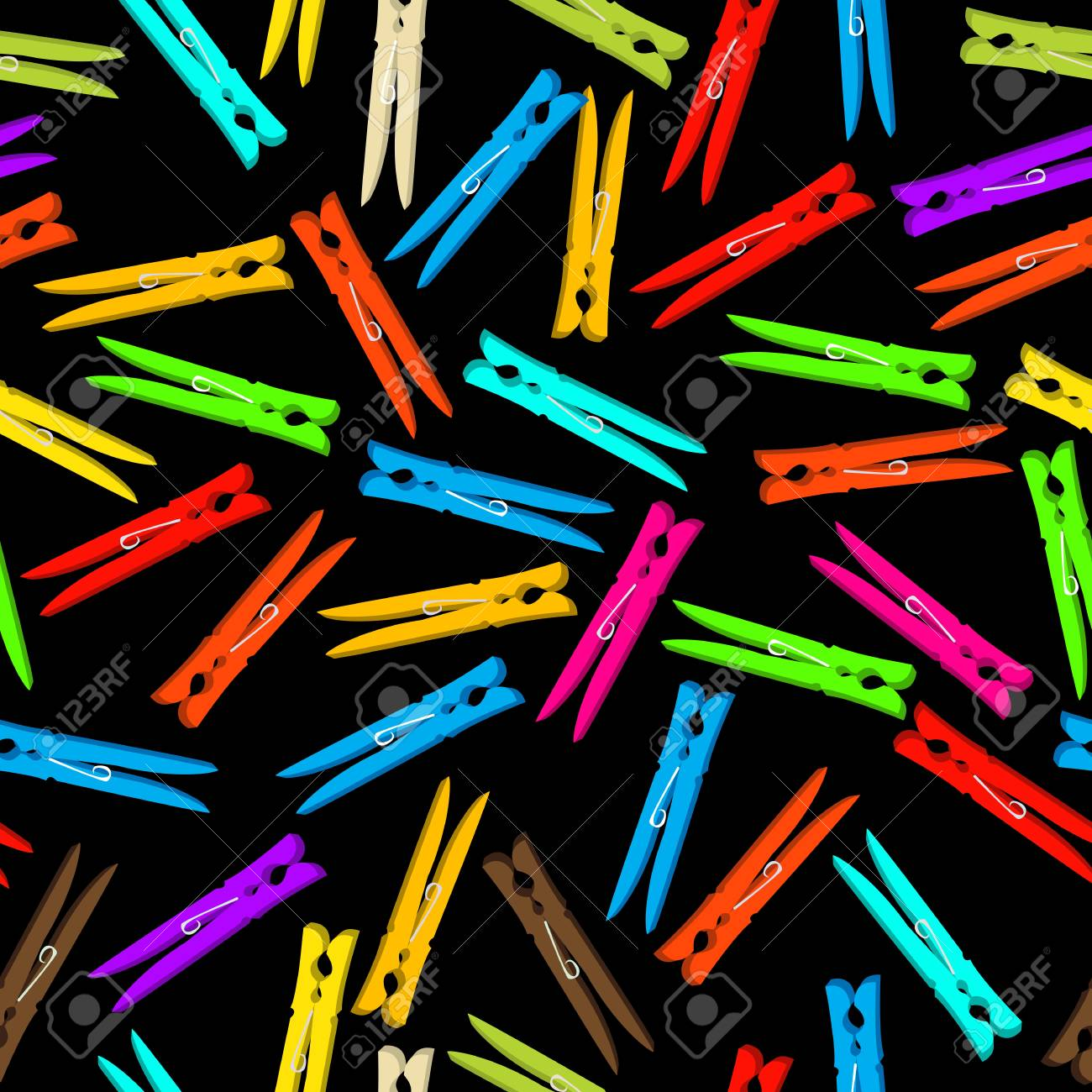 Seamless background composition with clothespin in colors against black background Stock Vector - 17124194