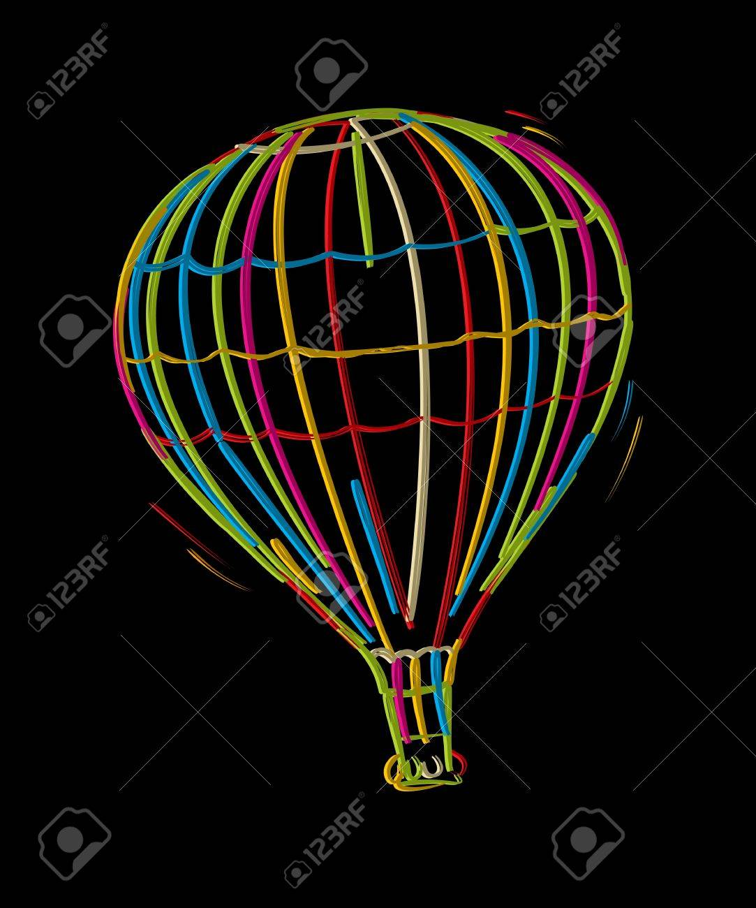 Hot air floating balloon, colored sketch against black background Stock Vector - 17200117