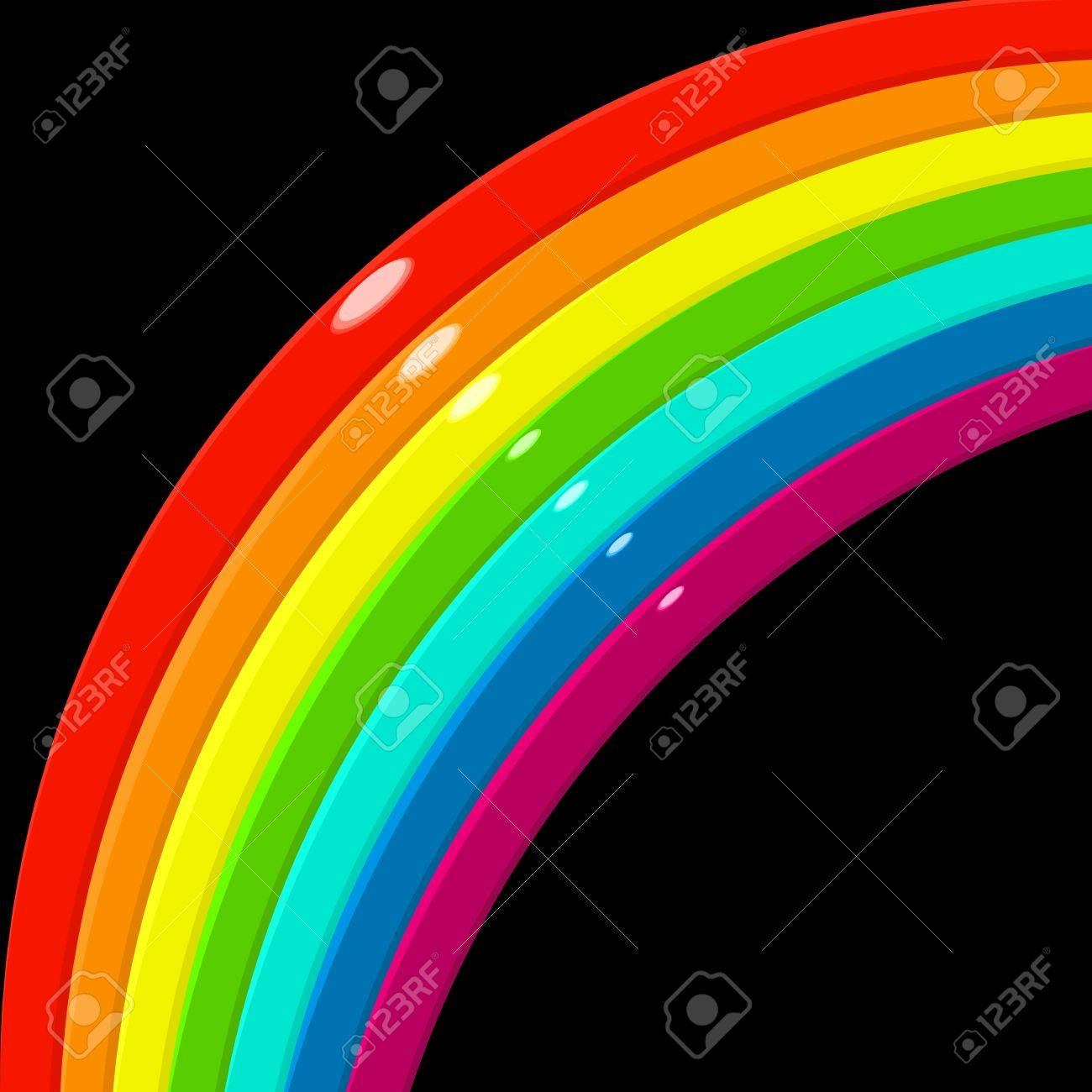 Glossy rainbow corner over black Stock Vector - 17230684
