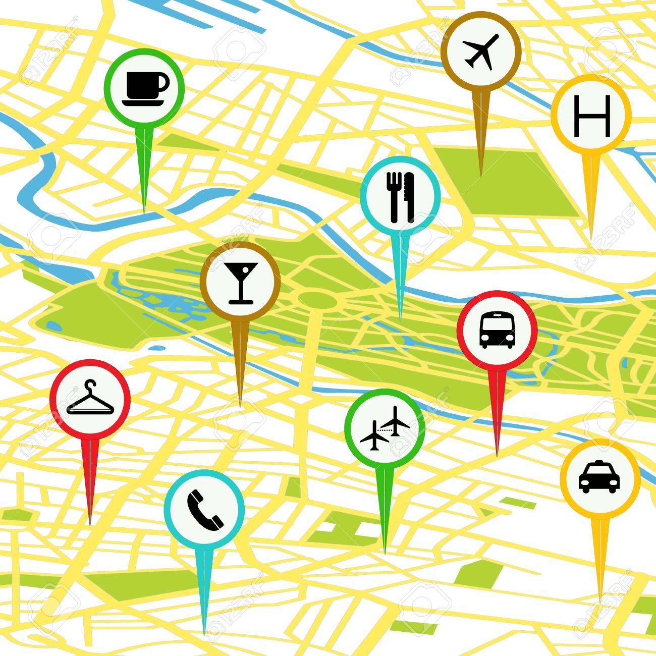Gps icon set over a generic map Stock Vector - 17886706