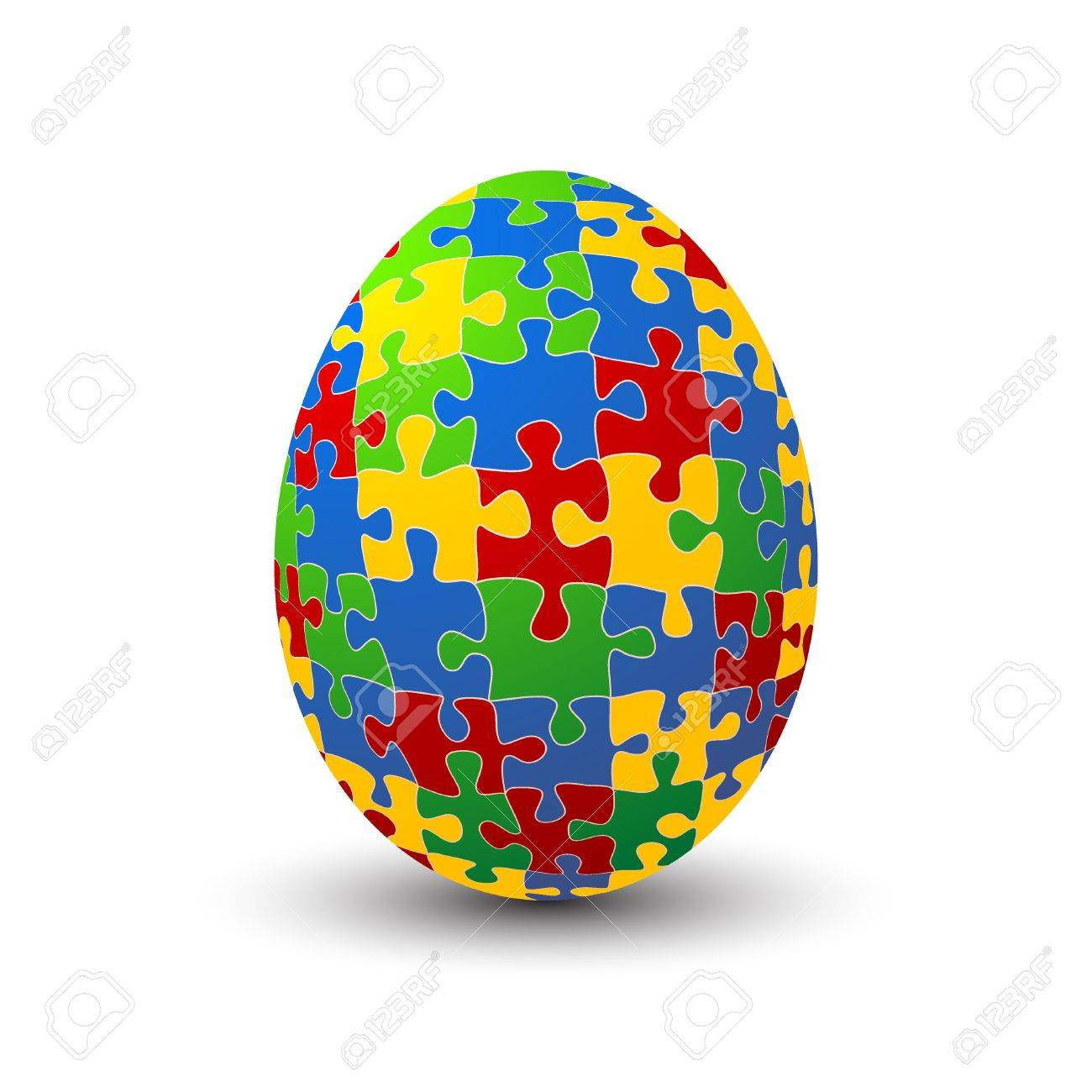 Jigsaw puzzle Easter egg against white background Stock Vector - 17886678