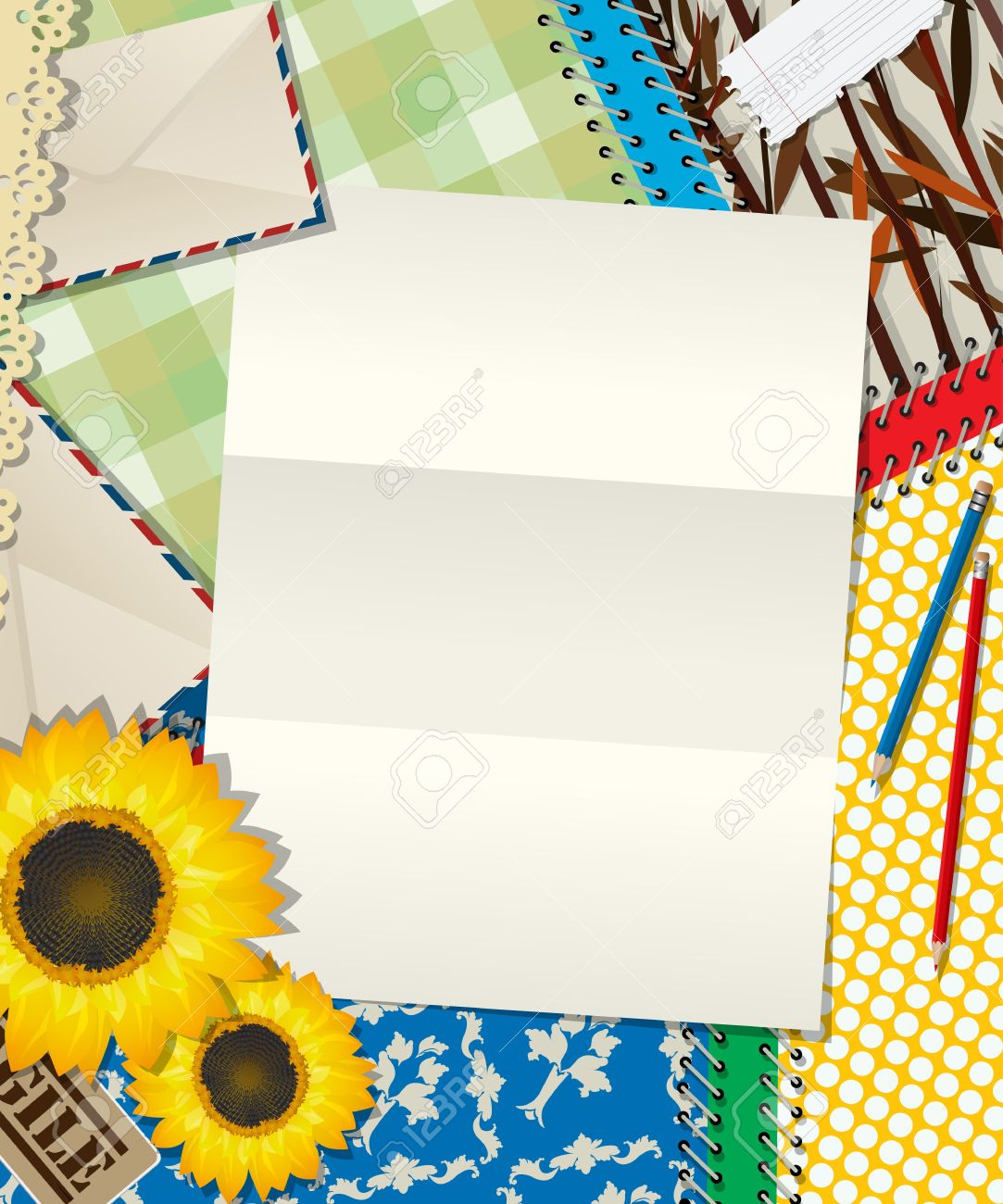 scrapbook design letter empty sheet background royalty free