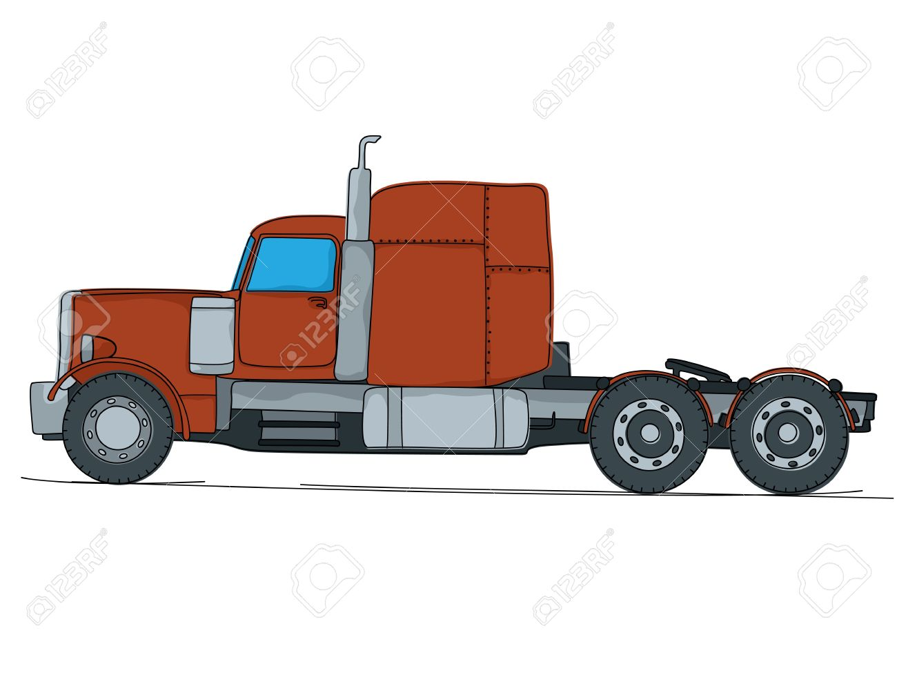 Cartoon drawing of a big red truck isolaed on white background stock vector 20671547