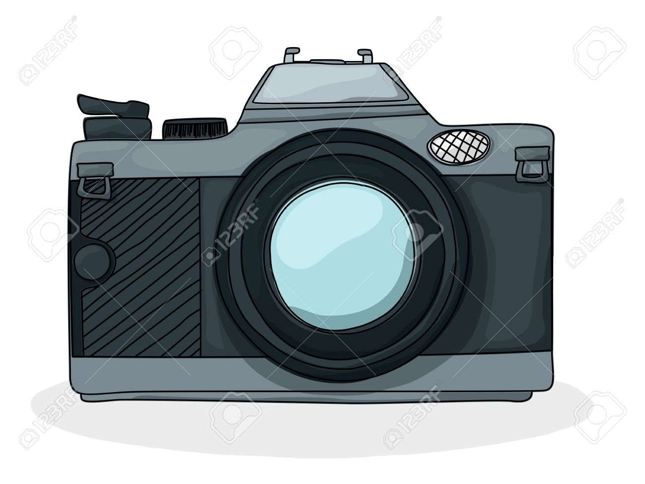 Retro Style Cartoon Photo Camera Drawing Over White Background Stock Vector