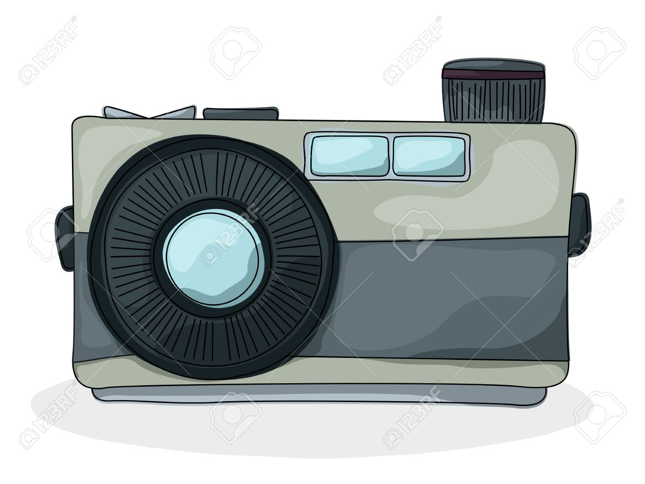 Camera Vintage Vector Free : Retro style cartoon photo camera drawing over white background