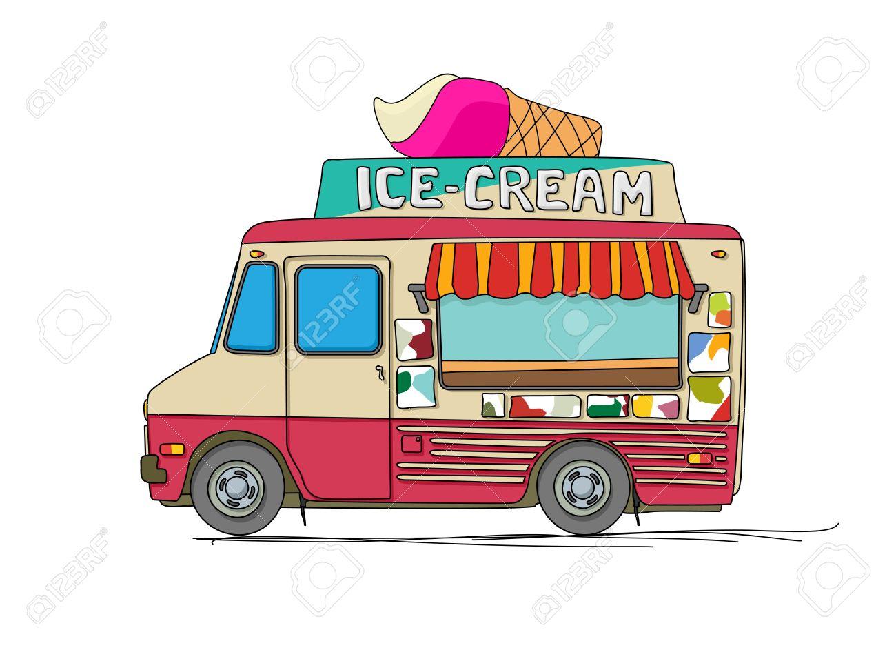 Crème Glacée Camion Dessin Animé Sur Fond Blanc
