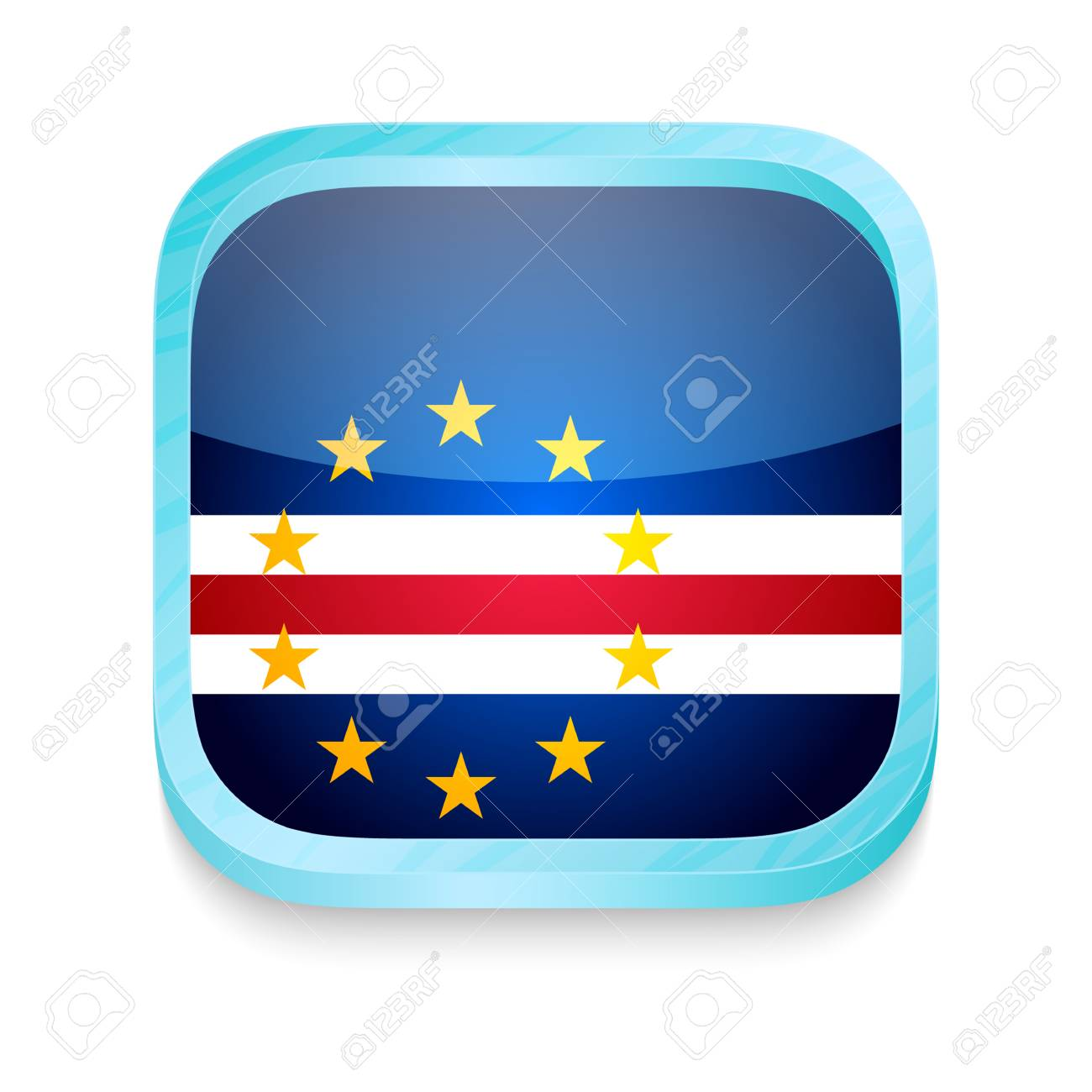 Smart phone button with Cape Verde flag Stock Vector - 22198126