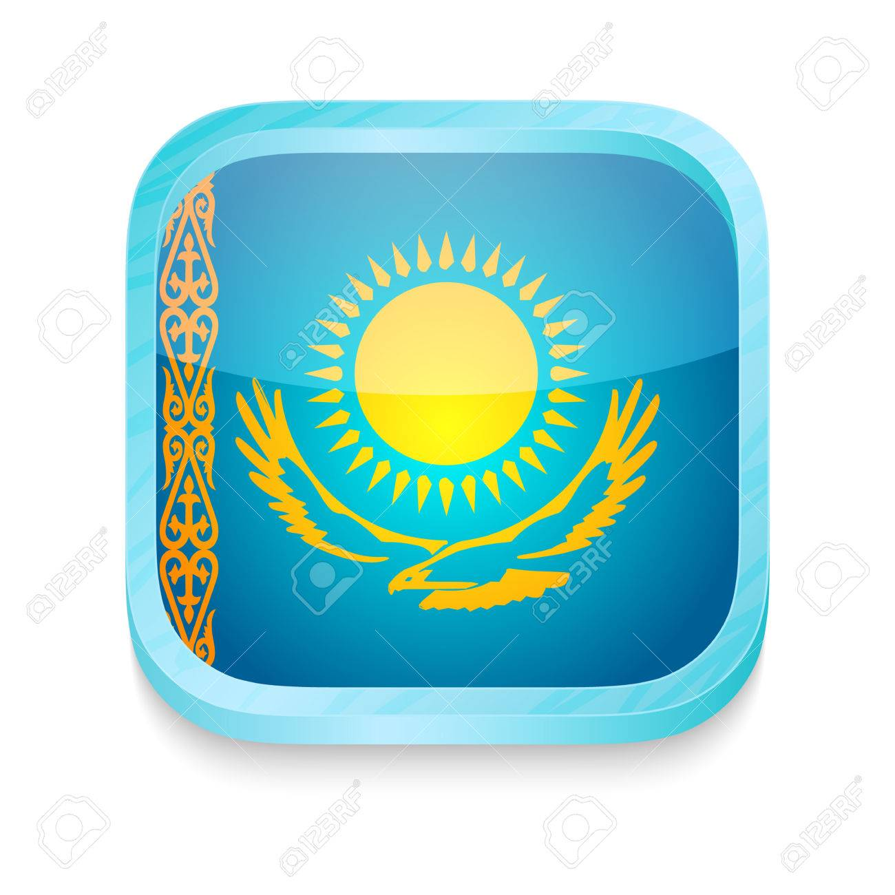 Smart phone button with Kazakhstan flag Stock Vector - 22198195