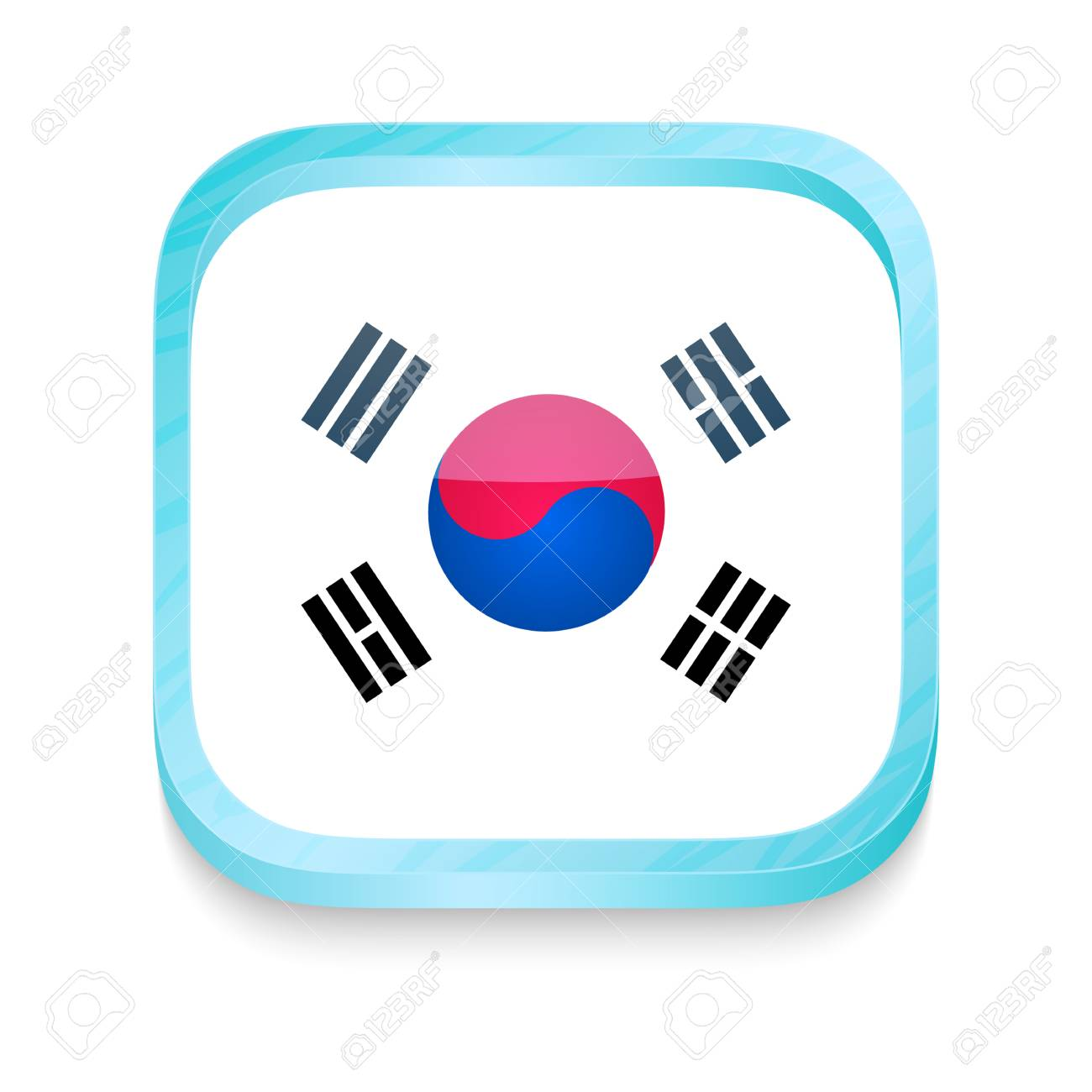 Smart phone button with South Korea flag Stock Vector - 22198402