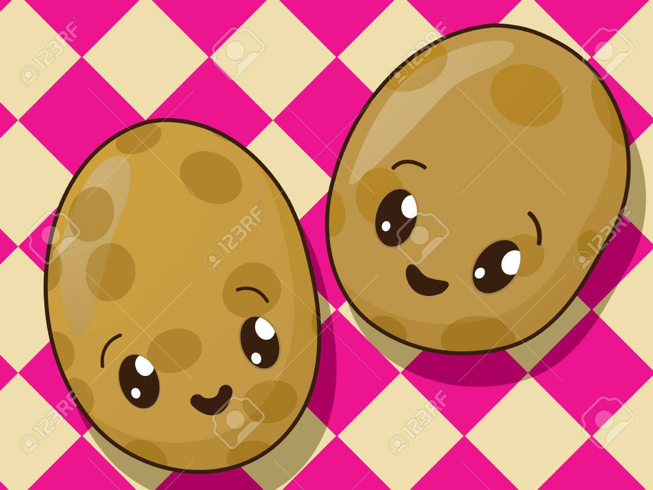 Kawaii Style Drawing Potato Icons
