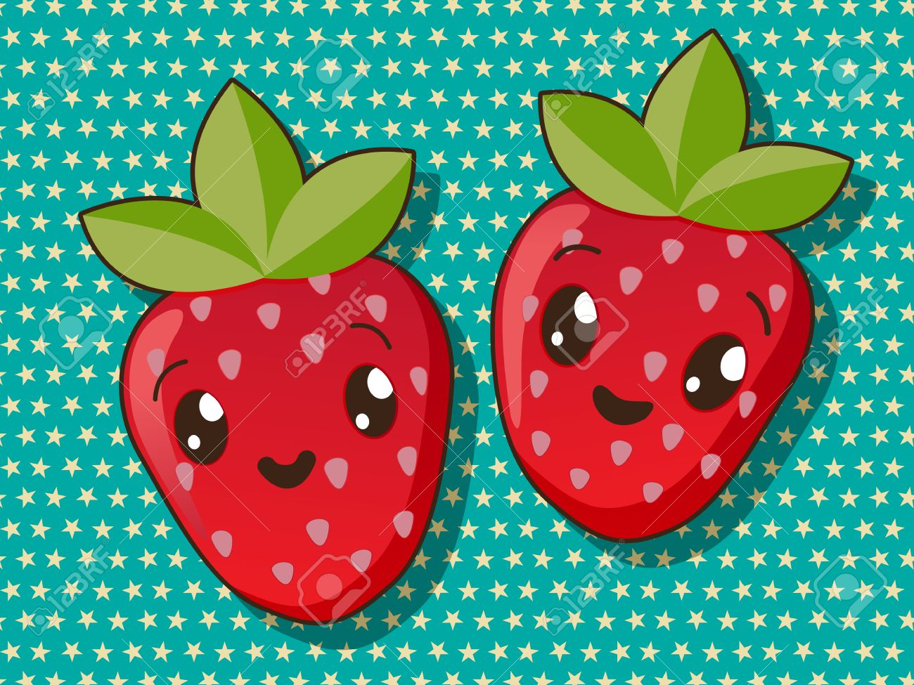Kawaii Style Drawing Strawberry Icons Royalty Free Cliparts
