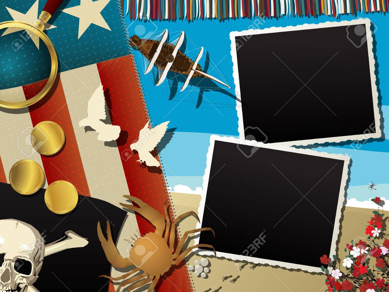 pirate theme abstract collage with empty photo frames royalty free