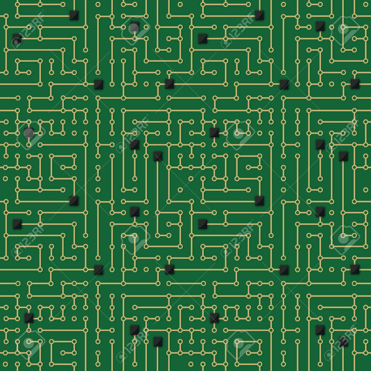 Seamless Pattern Computer Circuit Board Design Royalty Free Cliparts ...