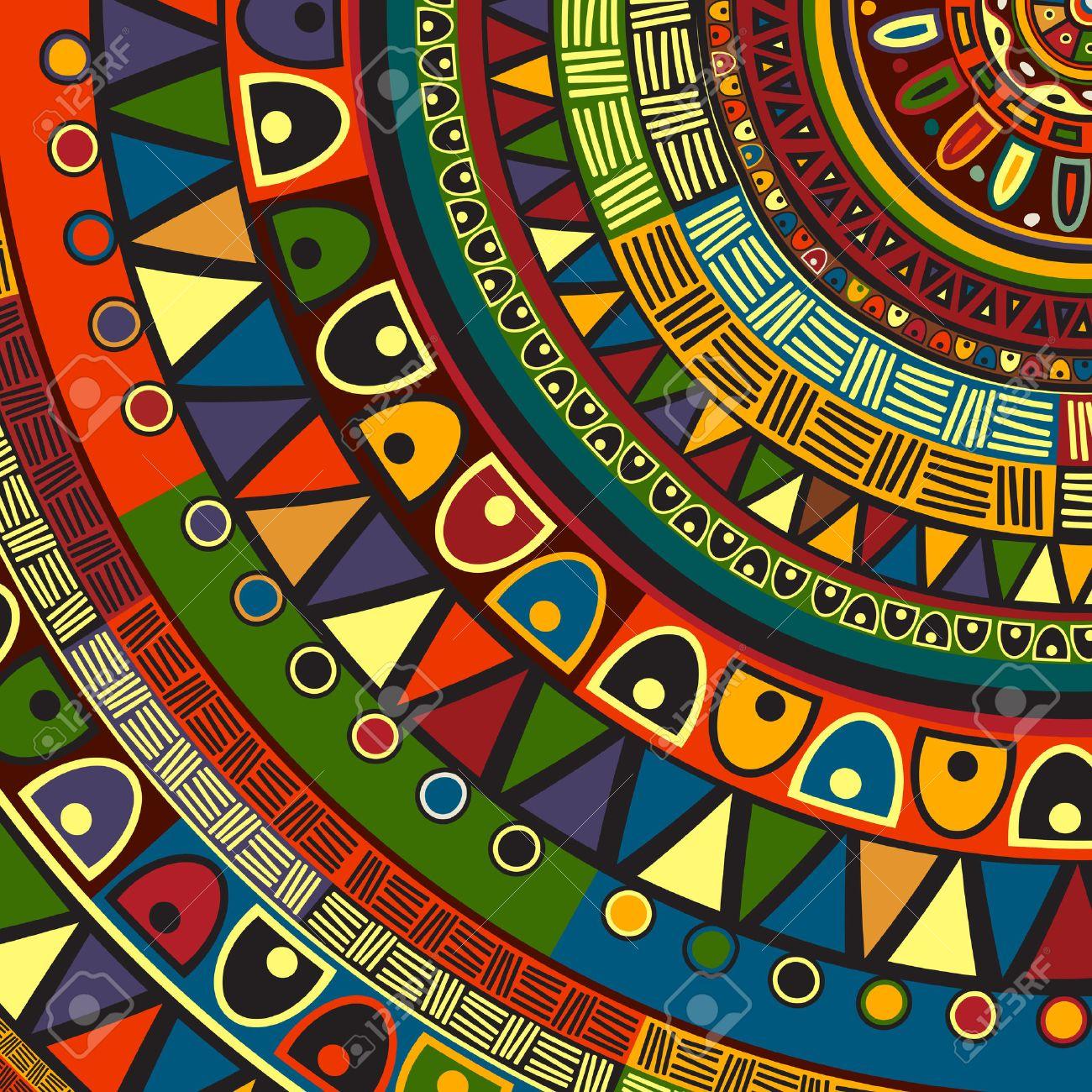 Diseño Tribal Con Color Arte Abstracto Ilustraciones Vectoriales