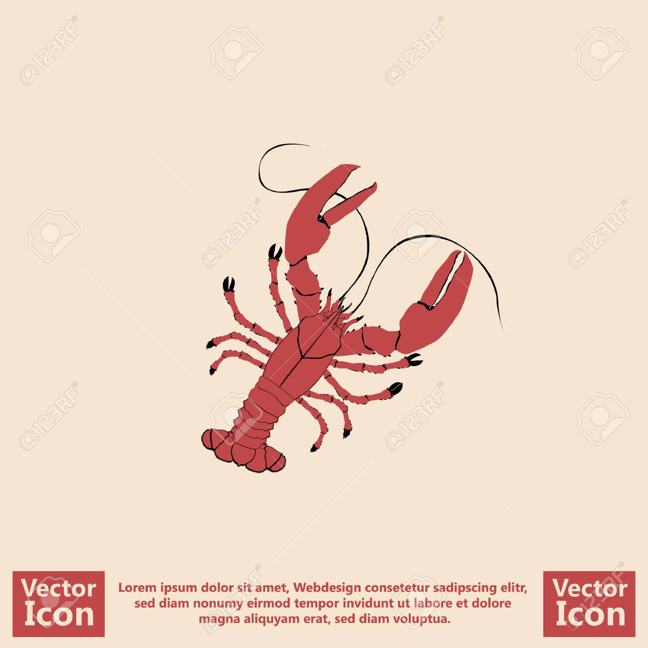 Flat Style Icon With Lobster Symbol Royalty Free Cliparts Vectors