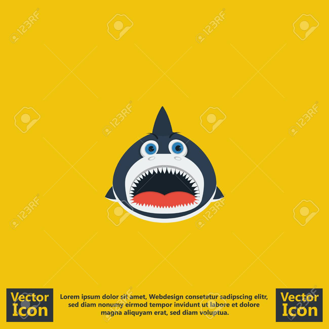 Flat style icon with shark symbol