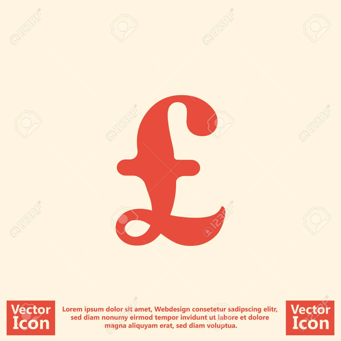 Flat Style Icon With British Pound Symbol Royalty Free Cliparts