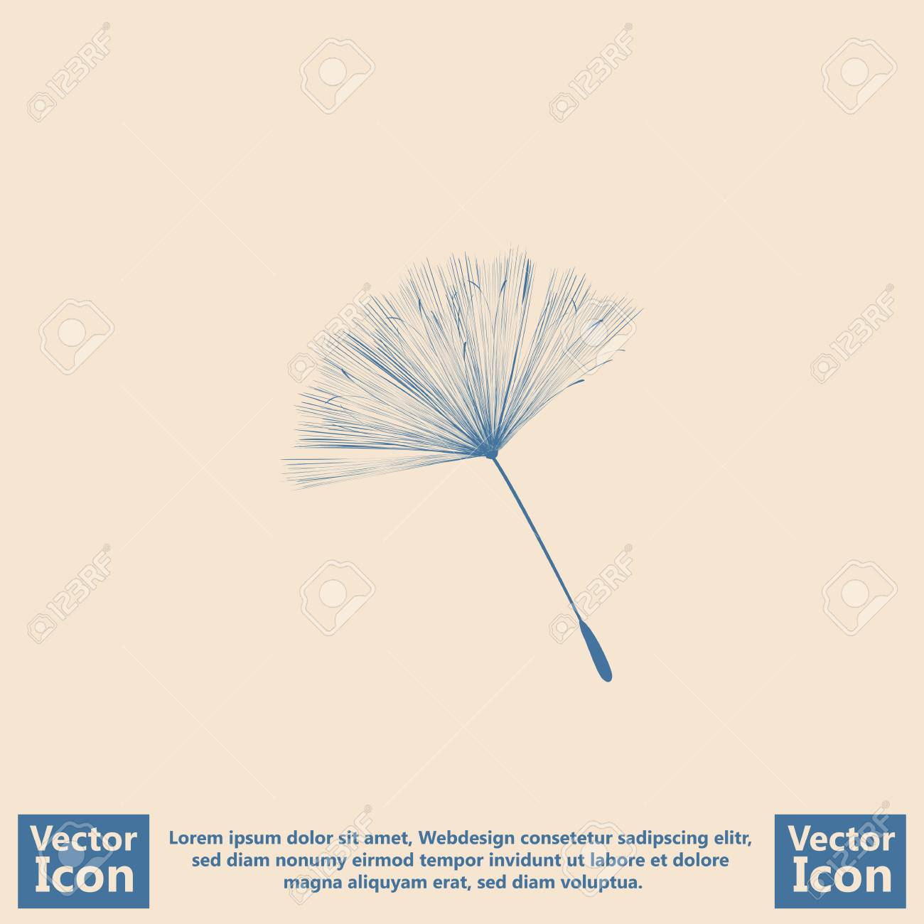Flat Style Icon With Dandelion Symbol Royalty Free Cliparts