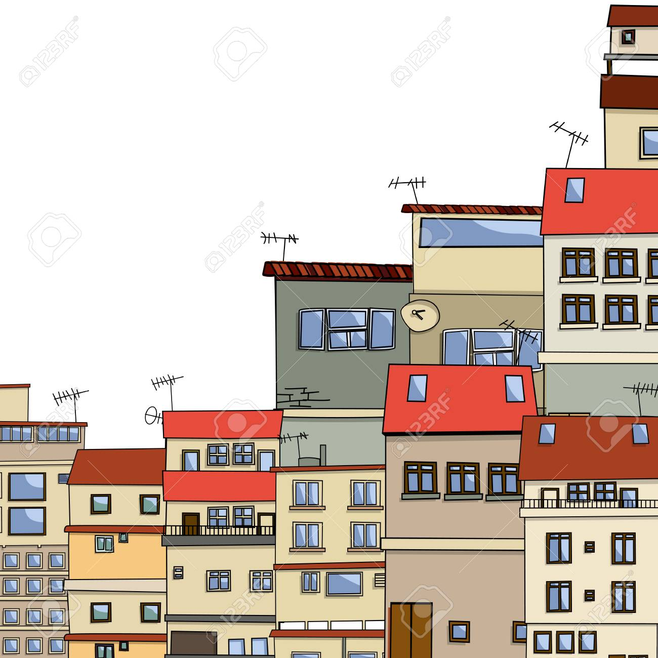 Old Houses Village Cartoon Over White Background Stock Vector