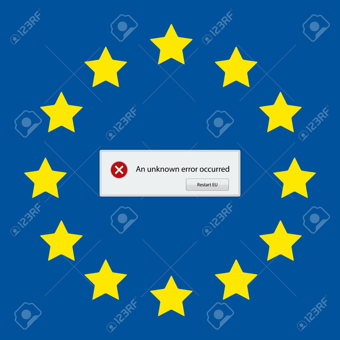 Satirical Graphic With European Union Error Message Royalty Free