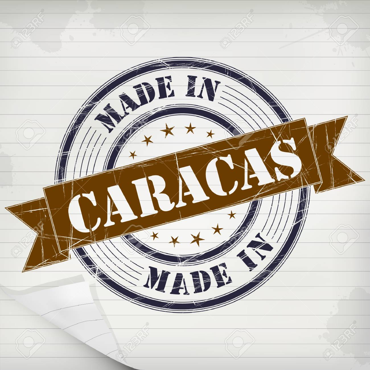 Made In Caracas Vector Rubber Stamp On Grunge Paper Stock