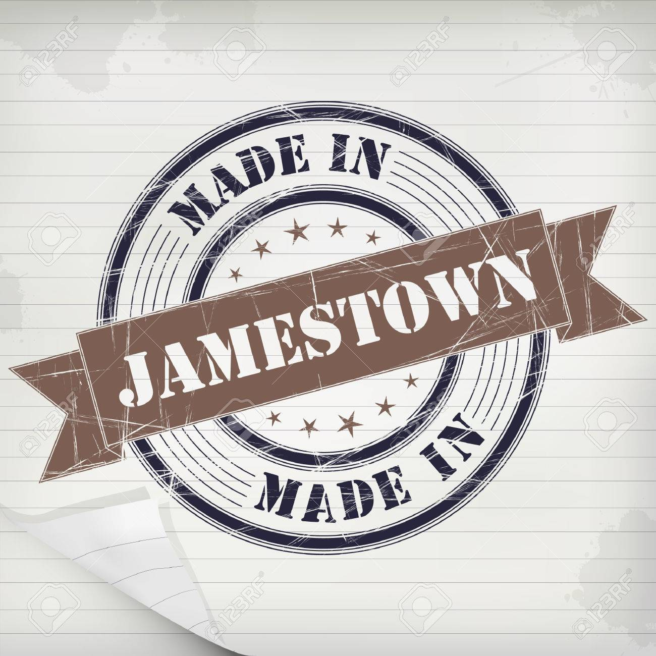 Made In Jamestown Vector Rubber Stamp On Grunge Paper Stock