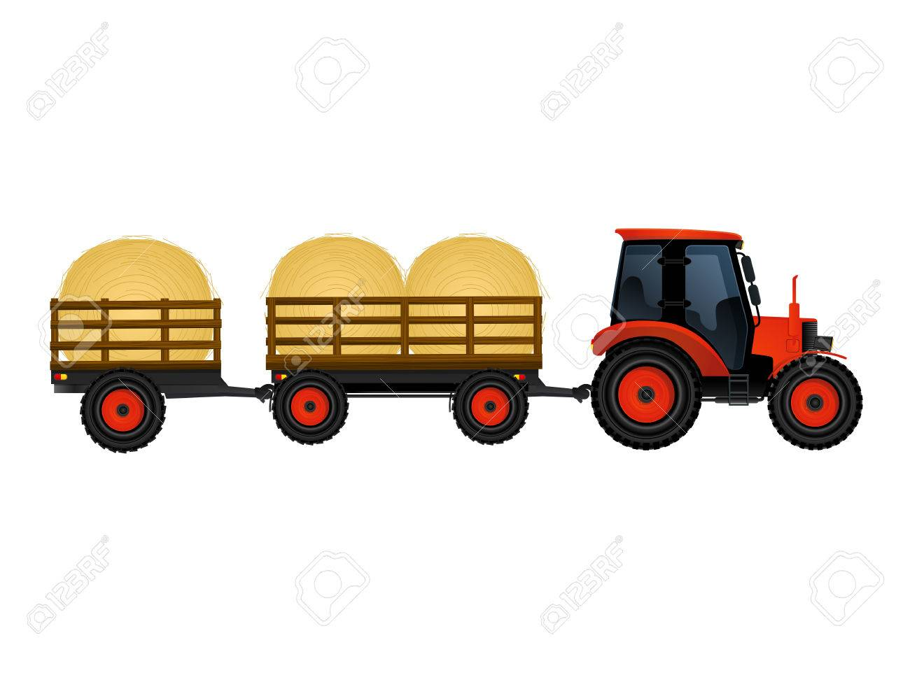 farm tractor with wagons transporting hay royalty free cliparts rh 123rf com hay wagon clipart free hay wagon clipart