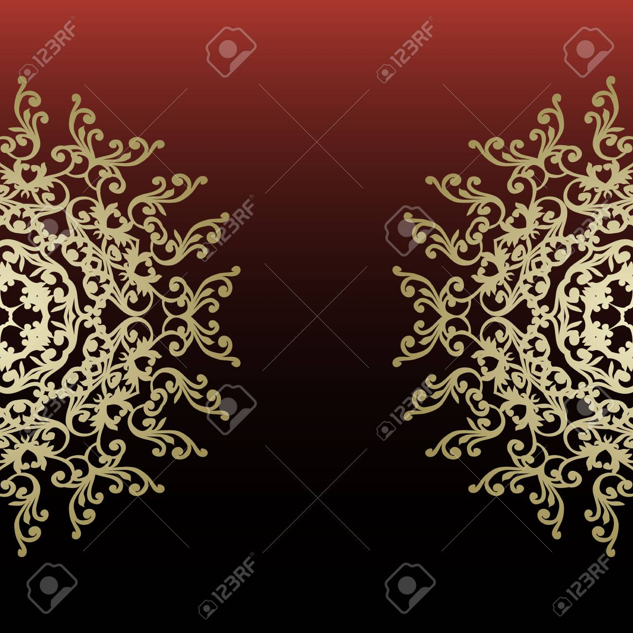 Romantic Wedding Invitation With Golden Abstract Shapes Pattern ...