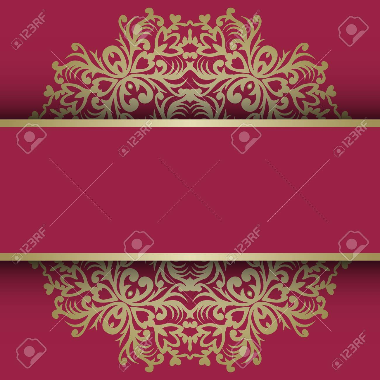 Greeting Card With Vintage Gold Ornament And Place For Text ...