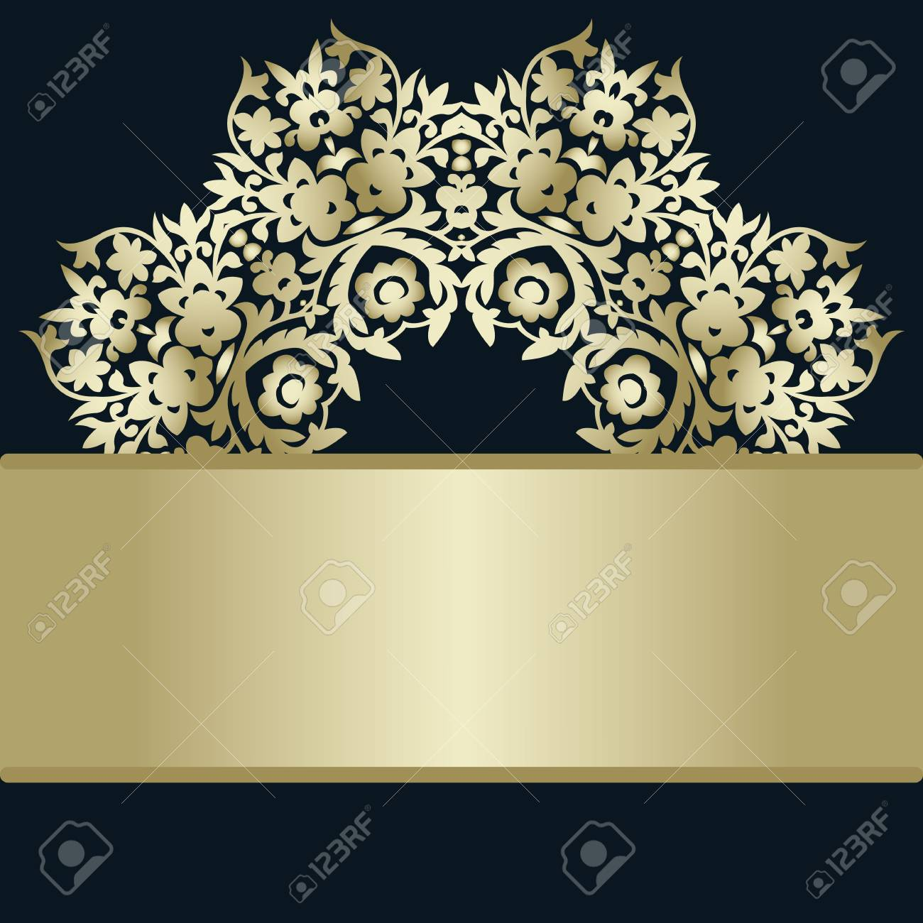 Blank Horizontal Stripe Label Invitation Card For The Wedding