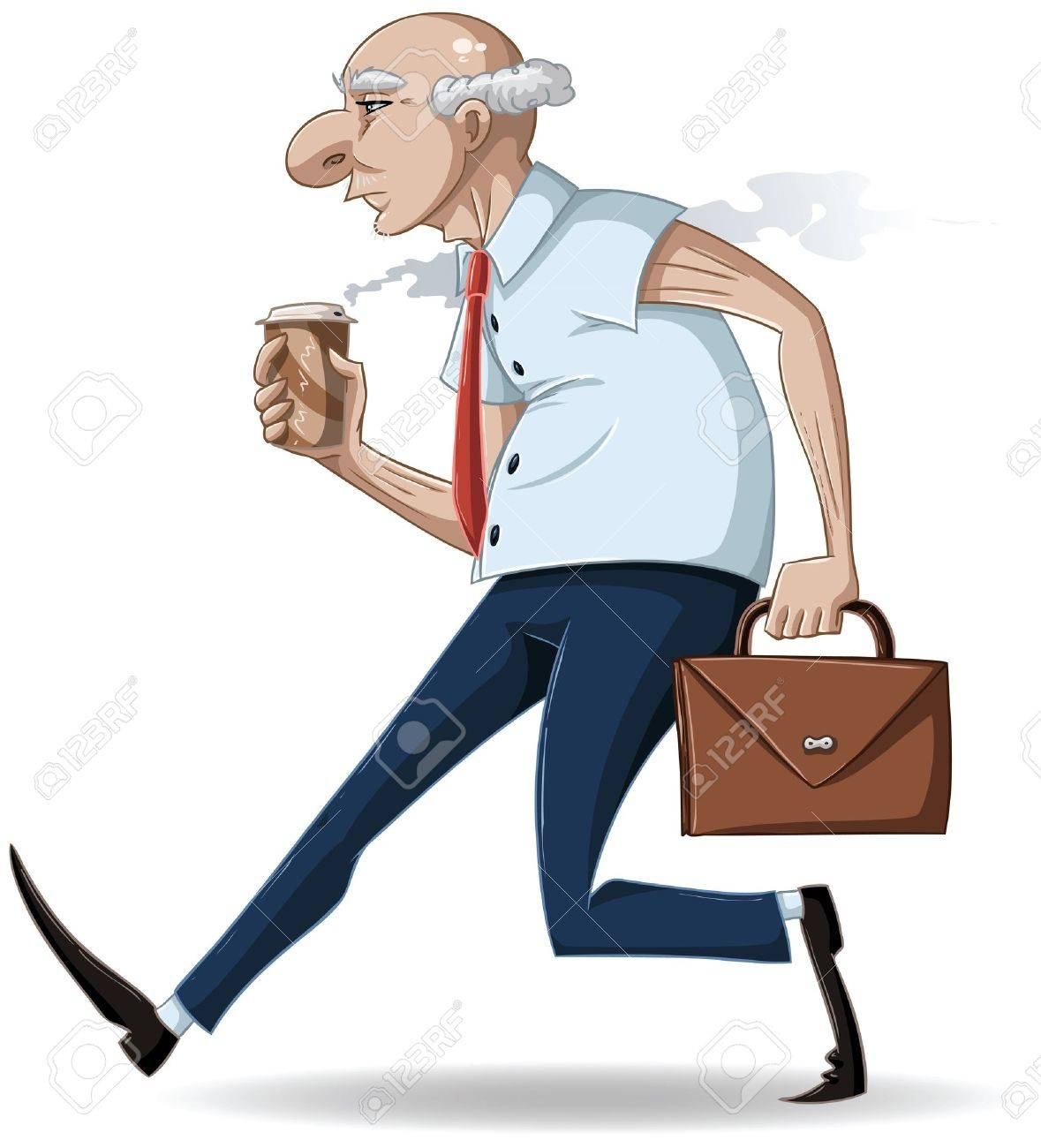 A vector illustration of an old businessman walking with a briefcase and a hot take-away coffee cup. Stock Vector - 9698729