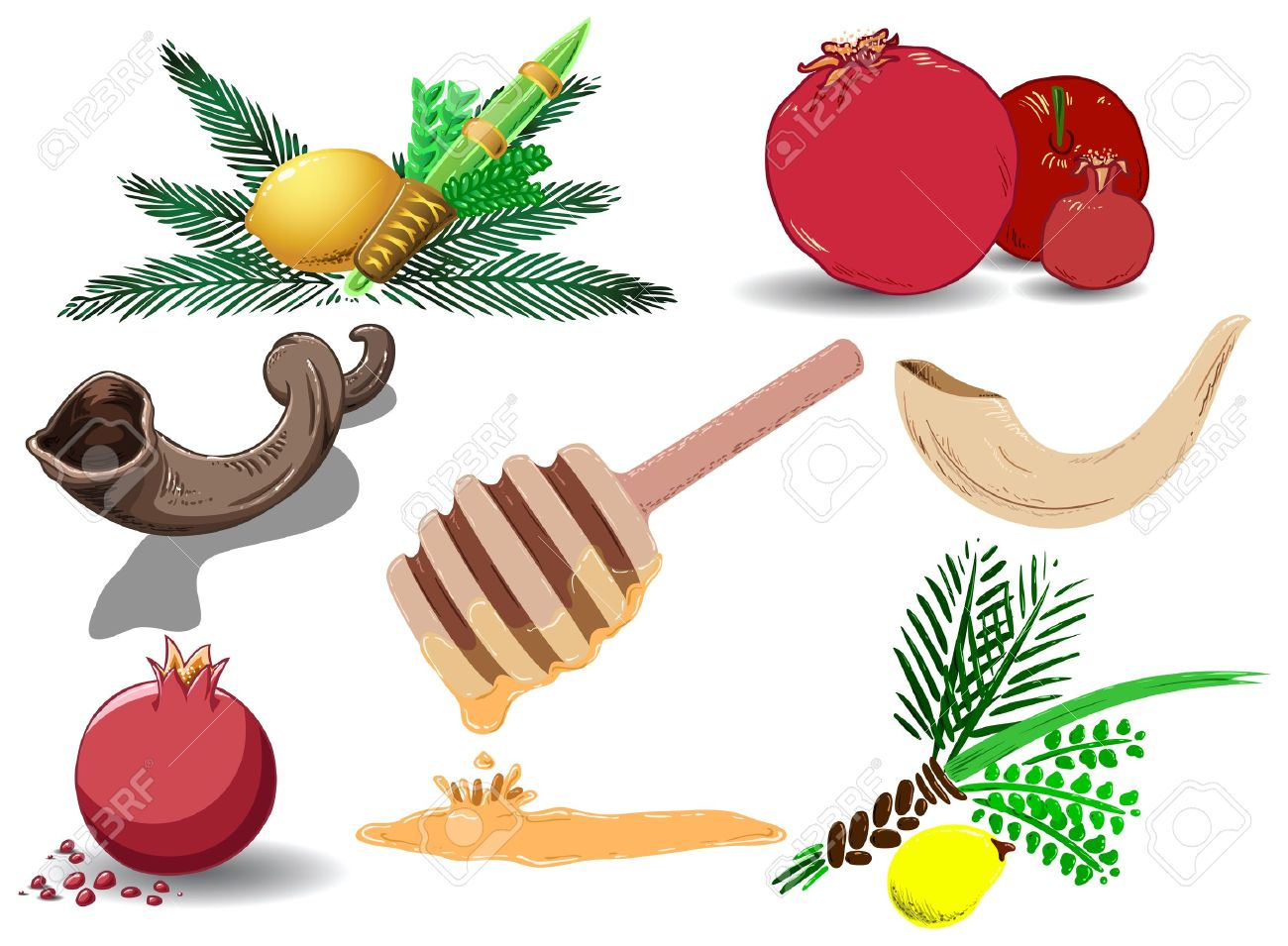 A pack of Vector illustrations of famous Jewish symbols for the Jewish Holidays New Year, Yom Kipur and Sukkot. Stock Vector - 10462539