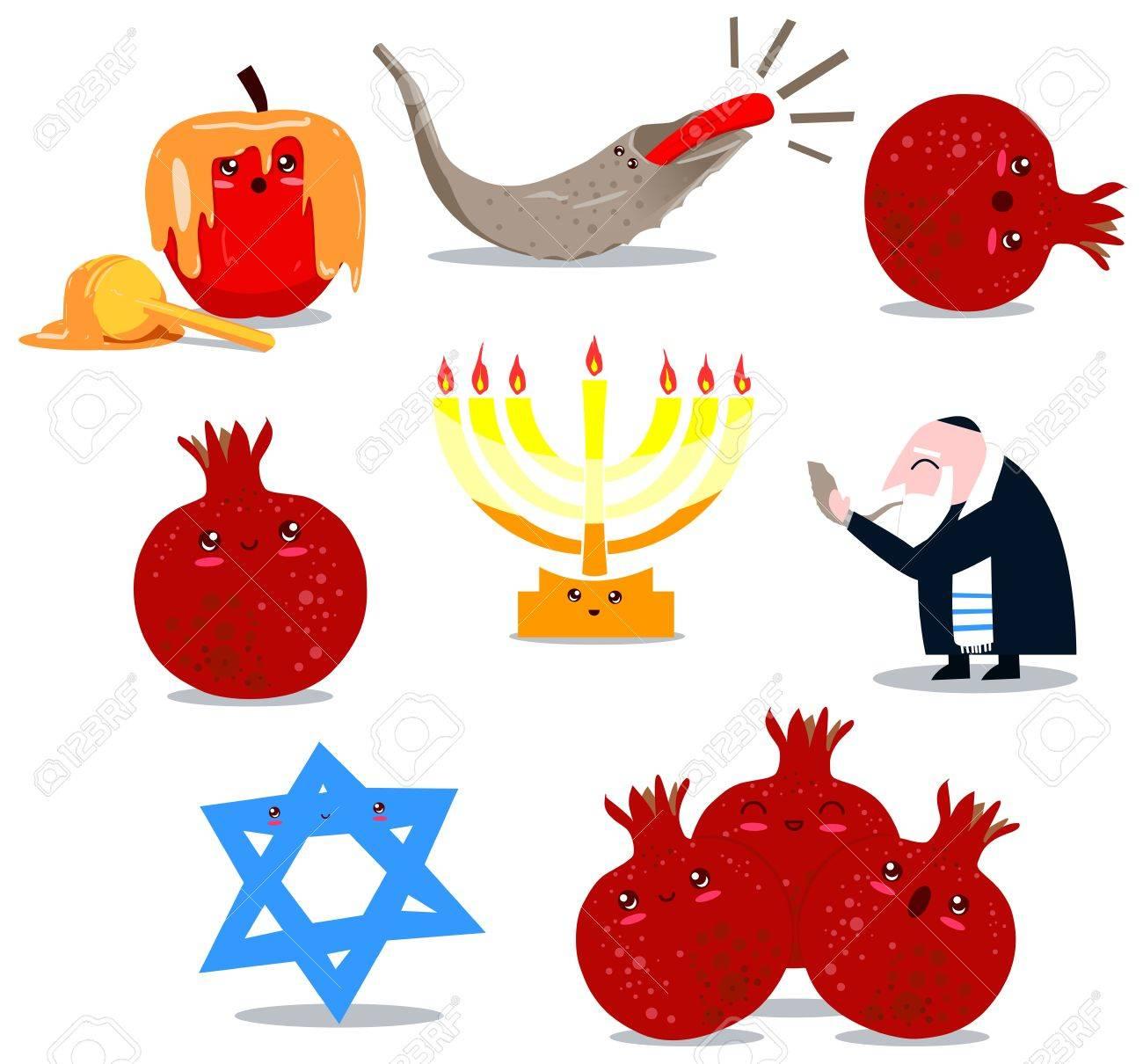 Un Paquete De Vector Las Ilustraciones De Famosos Símbolos Judíos ...