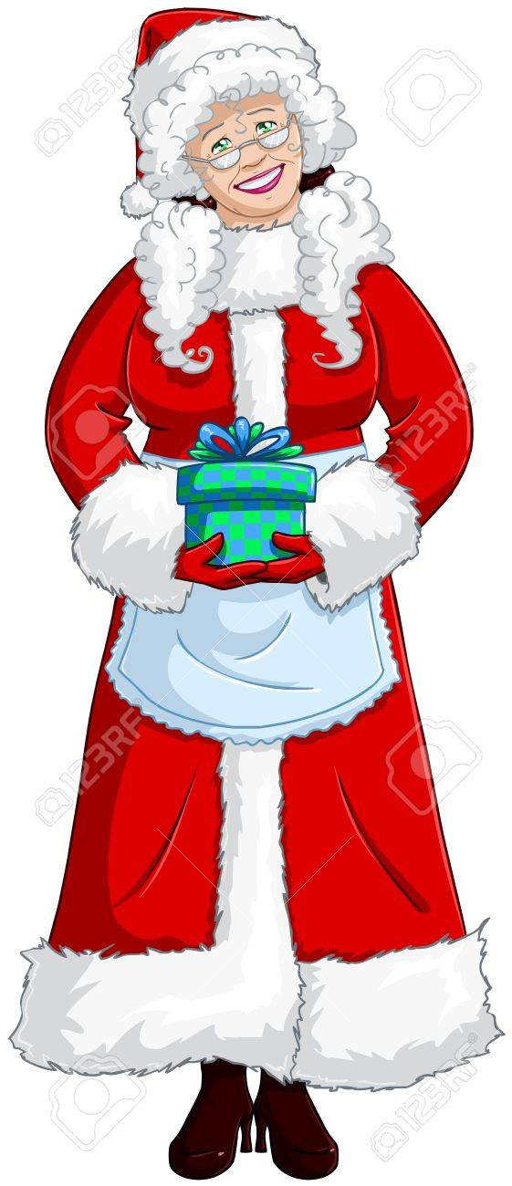 A vector illustration of Mrs Claus holding a present for Christmas and smiling Stock Vector - 16588202