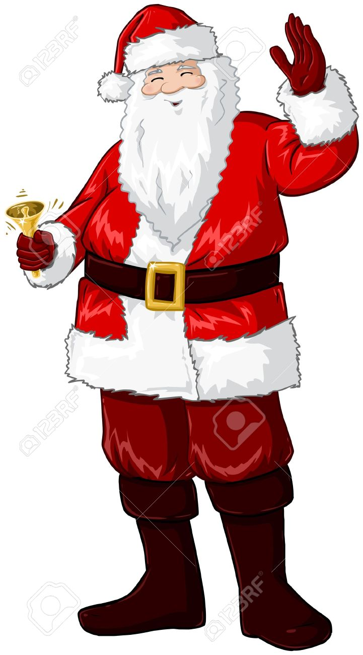 A vector illustration of Santa Claus smiling and ringing a bell and waving his hand for Christmas. Stock Vector - 16588205