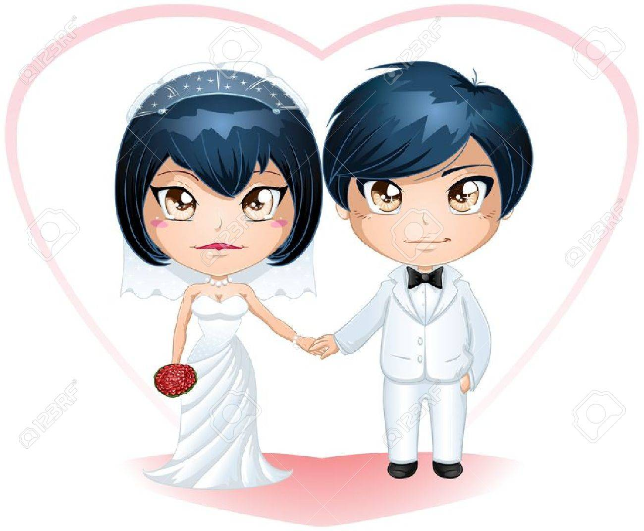 A vector illustration of a bride and groom dressed for their wedding day. - 17560357
